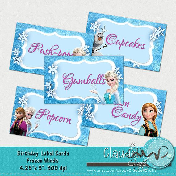 Frozen Winds Inspired Printable Label Cards (Blank) / Food