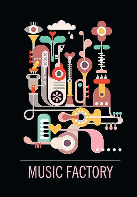 """Abstract art composition. Graphic design with text """"Music Factory"""". Isolated vector illustration on black background. — Designspiration"""