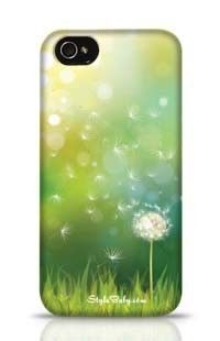 Spring Background With White Dandelion Apple iPhone 4 Phone Case