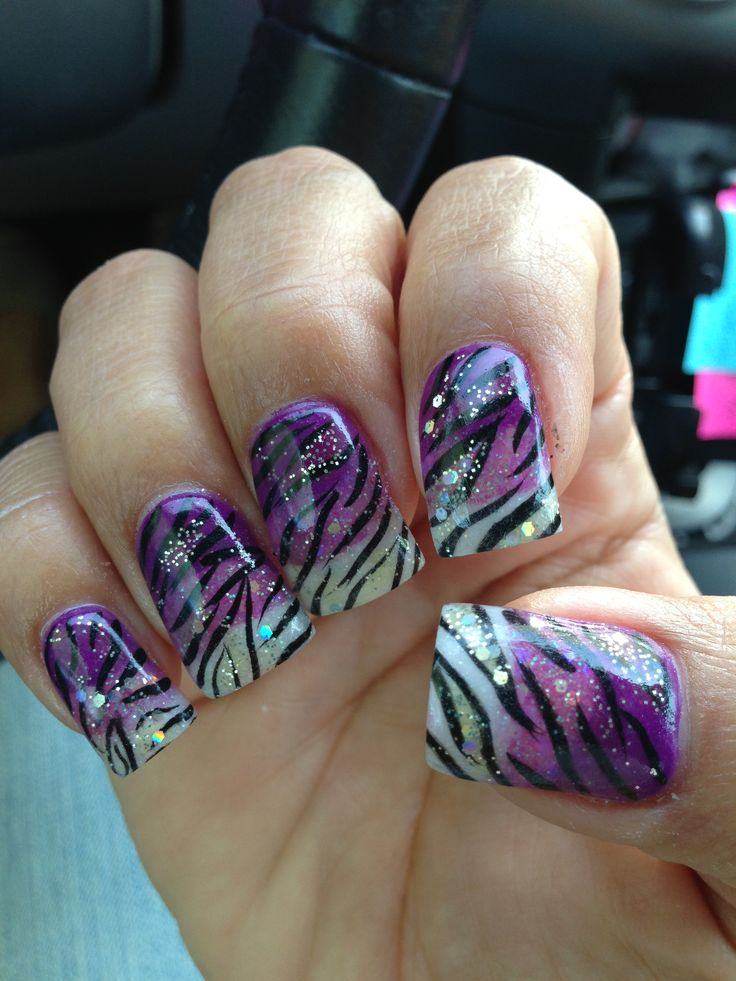 Purple/white ombré zebra acrylic nails by Jeanine L.