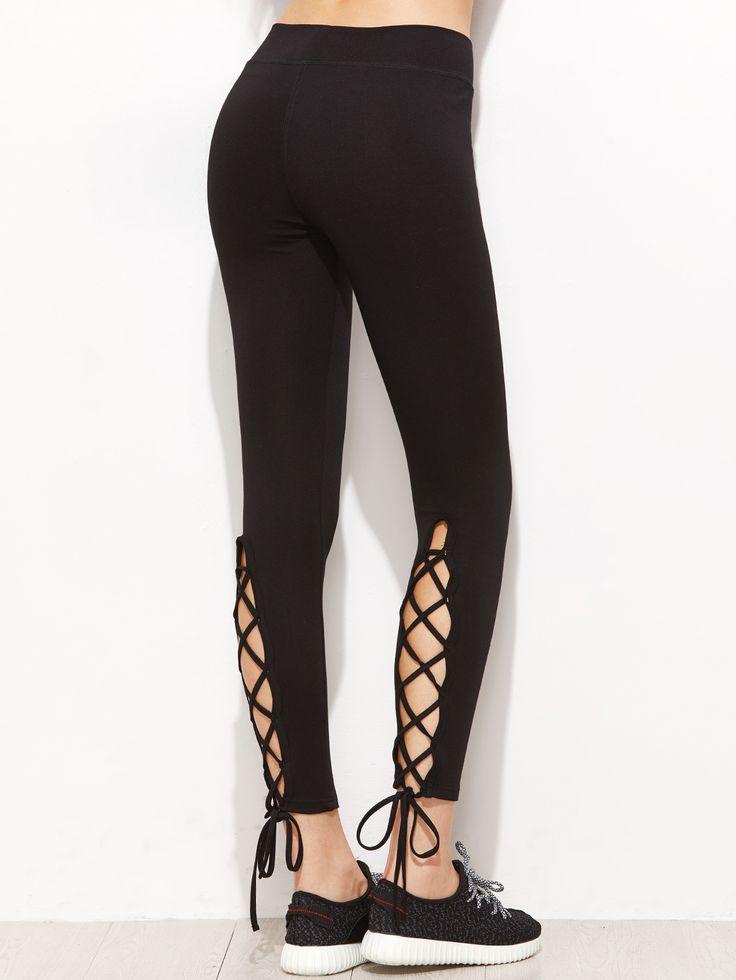 Shop Black Lace Up Detail Leggings online. SheIn offers Black Lace Up Detail Leggings & more to fit your fashionable needs.