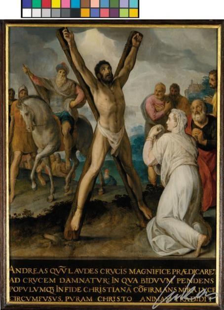 Lié à sur un croix en forme de 'x' qui peu a été établie en pente nous apercevons le saint Andreas. Autour de lui une foule qui le regarde avec sympathie mais sans être dans le pouivoir de lui aider. Devant lui une femme s'agenouille qui peut être identifiée probablement comme Maximilla, la femme de Egeas. Dans l'arrière-plan, nous voyons à gauche le proconsul sur son cheval et avec ses compatriottes.