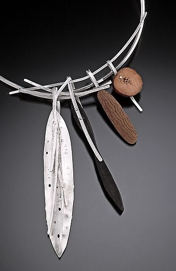 Necklace | Caroline Viene.  Chaco Canyon  || Sterling Silver with found pieces of slate and wood from the desert.