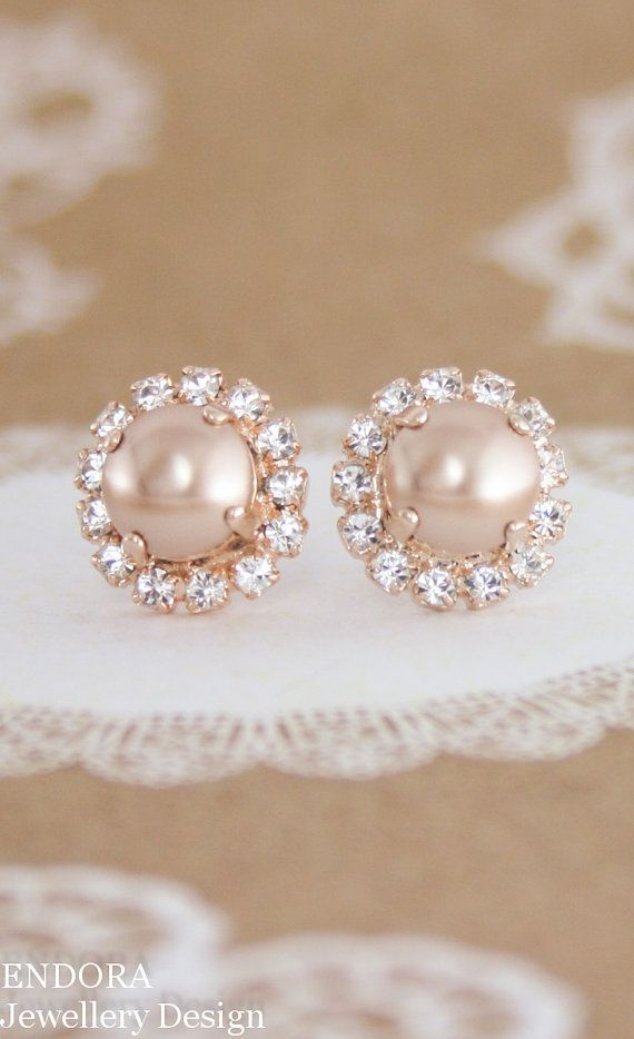 rose gold pearl earrings,rose gold wedding jewelry,rose gold earrings.rose gold bridal earrings,rose gold stud pearl earrings,pearl earrings  Great size and sparkle for pearl bridal earrings, pearl bridesmaid earrings and rose gold wedding theme or taupe colour wedding. Shown in rose gold setting with white pearl - other options available - please select your choice.