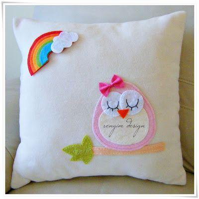 Rengim Design: Kız Bebek - Takı Yastığı / Tema: Baykuş