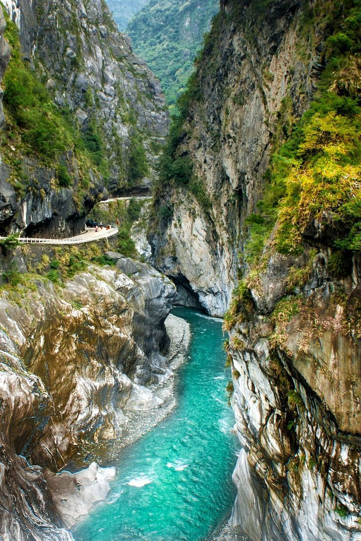 Cycling the Taroko Gorge bike path at Taroko National Park, Taiwan. This rugged mountain gorge offers one of the most beautiful landscapes in Taiwan and an adventurous ride.