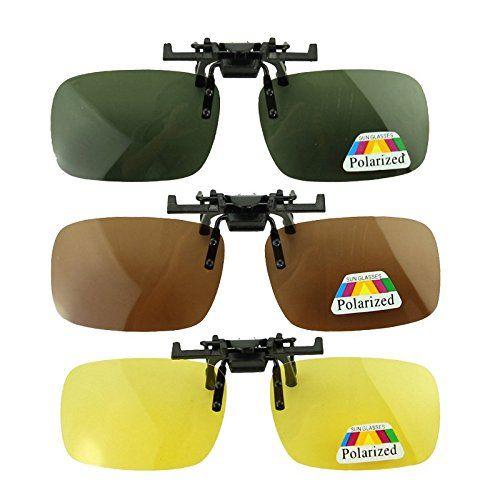 Baakyeek Lot de 3 paires de lunettes de soleil polarisantes clipsables unisexes adaptées aux myopes et à la vision nocturne