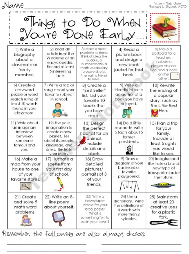 Tasks for early finishers