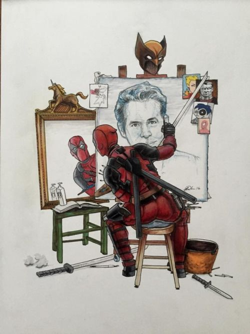 Self Portrait Deadpool paints what he sees in the mirror, it's uncanny…Art by Brandon Harrelson. (After Rockwell)