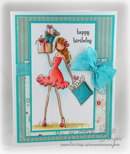 I love the colours and layout on this card too... A Sparkly, Leggy Happy Birthday | Paper Cuts- Stamping Bella