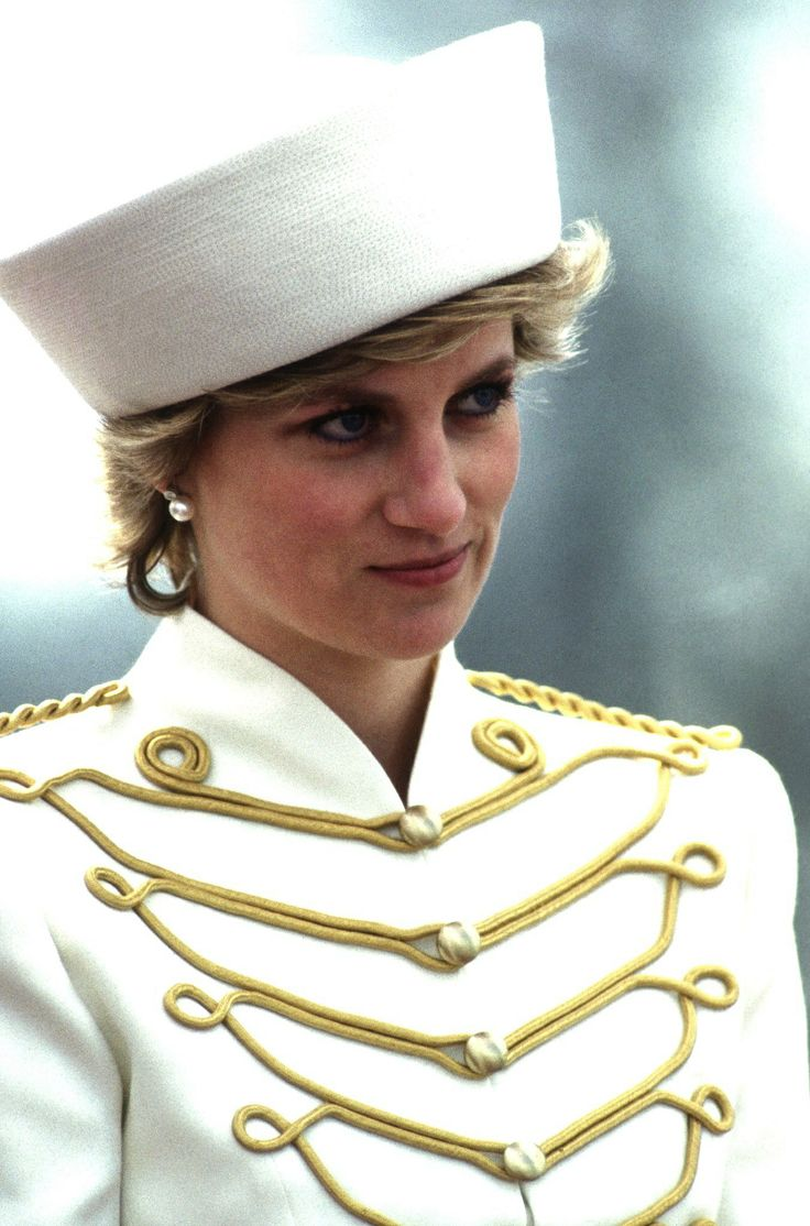 In April 1987, the princess paired her military jacket with a white sailor hat at the Sovereign's Parade at the Royal Military Academy in Berkshire, England.