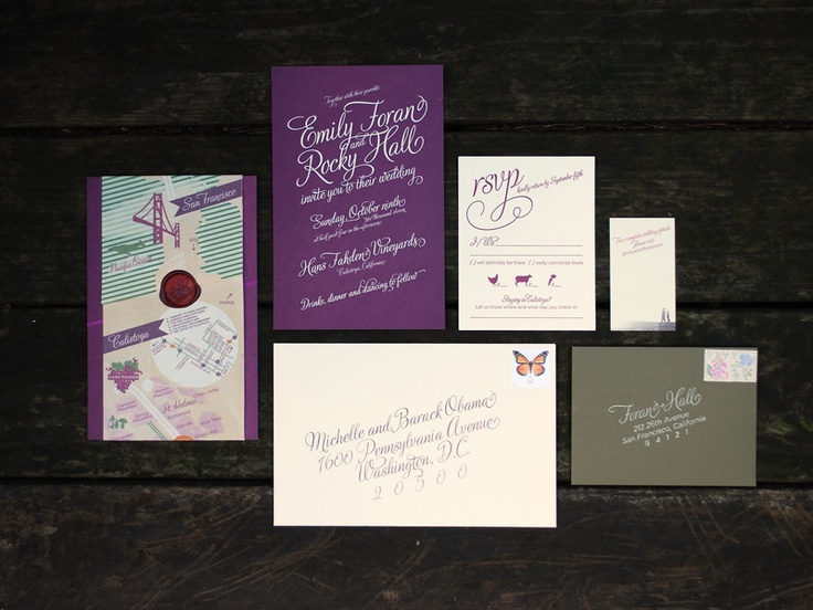 Custom Wine Harvest Wedding Invitation Printed Canvas Map Wrapped Around Suite And Closed With Wax