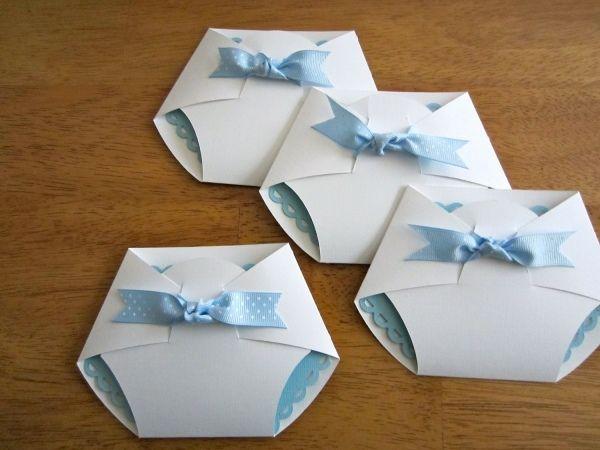 Anregungen Babyparty Einladungen Windeln Form Junge Blau Mehr