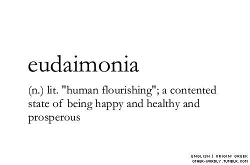 "Eudaimonia: ""human flourishing""; a contented state of being happy and healthy and prosperous."