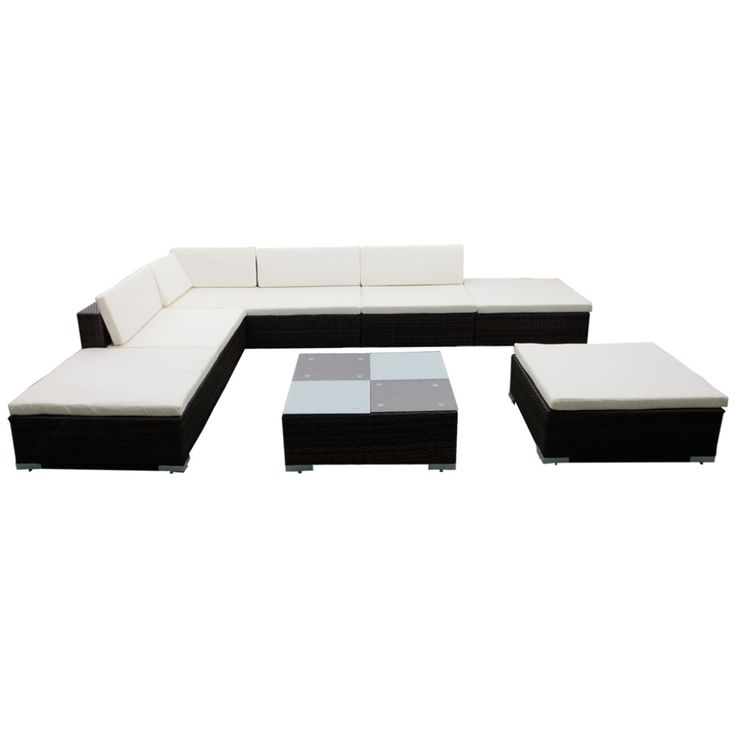 Denna bruna loungegrupp med gräddvita  dynor kombinerar utmärkt konstruktion, högkvalitets material och  funktionalitet. Den består av 3 soffor, 1 hörndel, 3 pallar, 1 soffbord med  glasskiva, 7 sittdynor och 5 ryggplymåer.     Det väderbeständiga