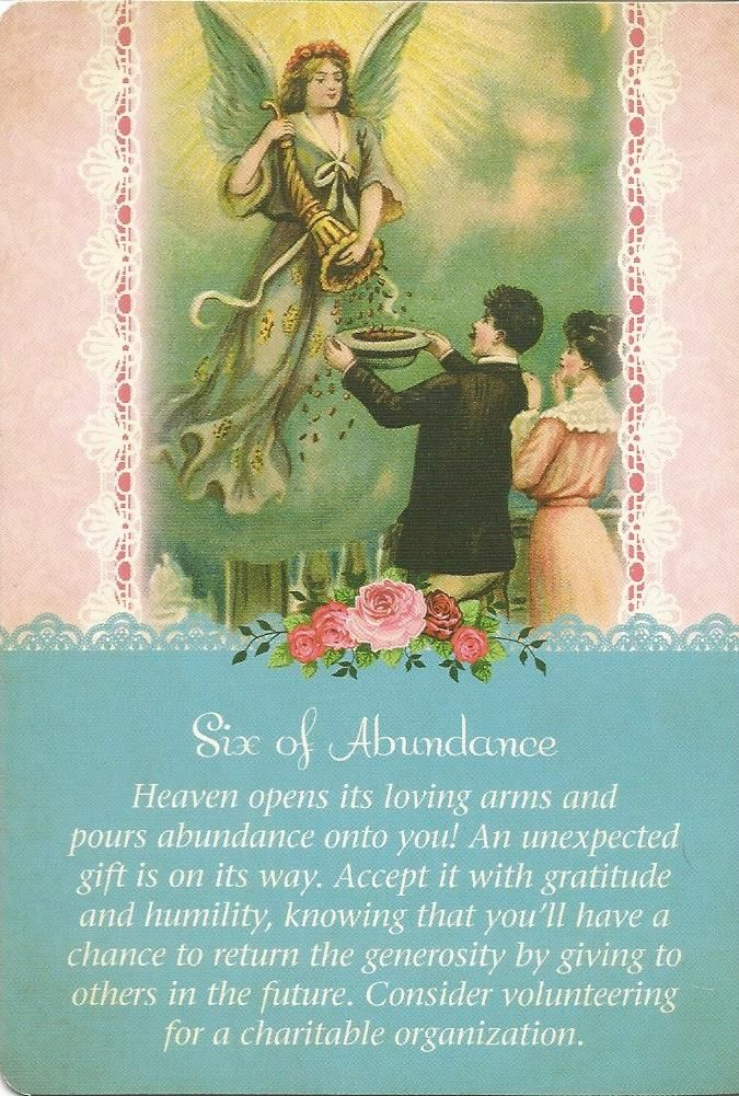 6 of Abundance, Guardian Angel Tarot, Doreen Virtue
