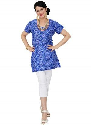 Abi Mid Length Blue Tunic Top  AUD $24.95