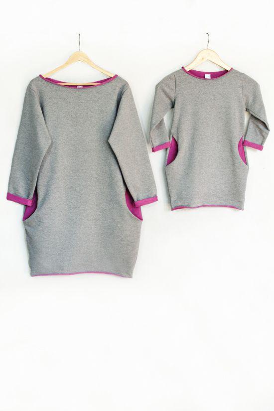 Sweatshirt dress for mom and daughter  Dresowa Tunika dla mamy i córki www.thesame.eu