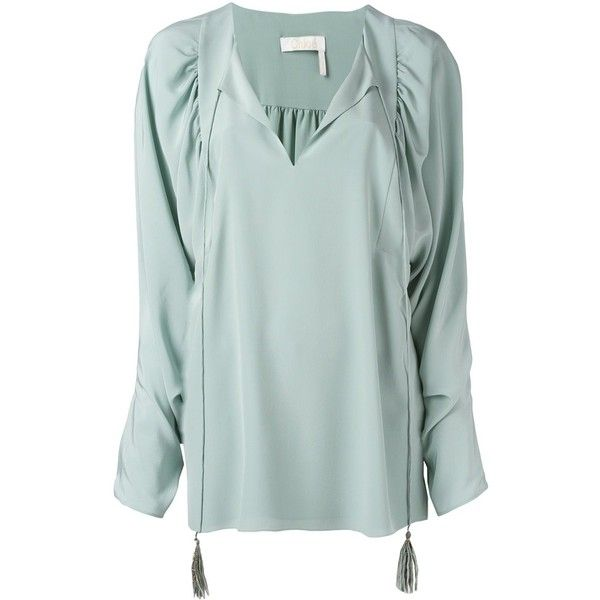 Chloé Slit Front Blouse (1,390 CAD) ❤ liked on Polyvore featuring tops, blouses, blue, long sleeve silk blouse, green blouse, ruched blouse, long sleeve tops and split neck blouse