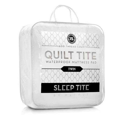 Sleep Tite White Waterproof Quilted Twin XL Mattress Pad - (In No Image Available)