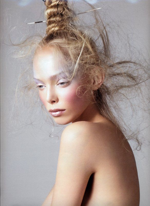 I would do makeup and hair like this all day long. omg ... the makeup is divine and the hair ... that sorta messed up falling out but with structure at the top is ridiculously cool. In painted hair tones ... how GORGEOUS! (my fave concept so far)