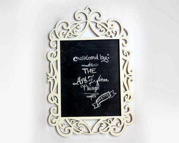 Lg. ANTIQUE WHITE Ornate Laser Cut Wood Frame Chalkboard- framed chalkboard decorative wedding chalkboard chalk board blackboard wall decor