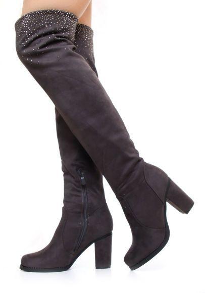 Szare kozaki za kolano #grey #boots #kozaki #obcas #zamsz #shoes #wysokie