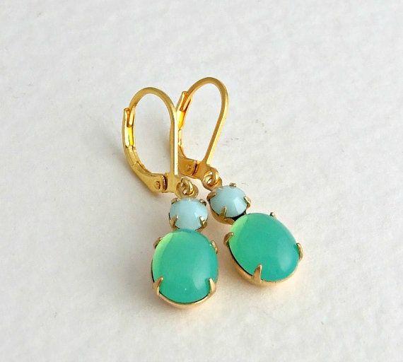 Green Opal Earrings .. opal earrings mint green by beadishdelight