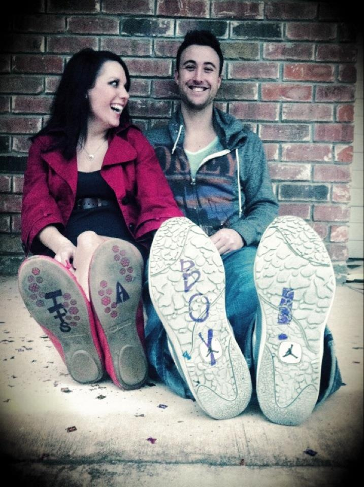 """baby Gender Reveal!... why are shoes used to announce things like engaged, married, """"I do"""" and babies??"""
