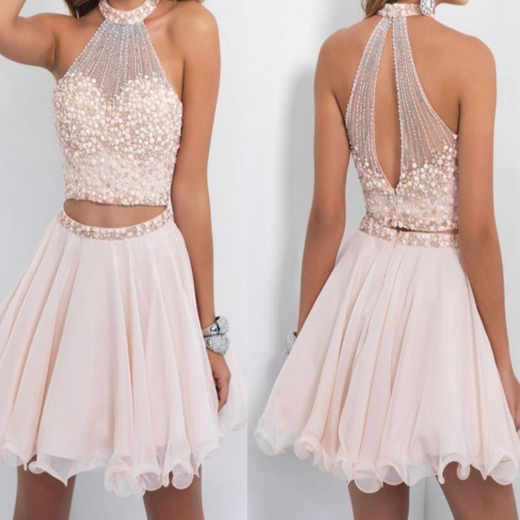 Sexy 2016 Two Pieces Nude Pink Short Cocktail Dresses High Neck Beaded Chiffon Cocktail Party Dresses