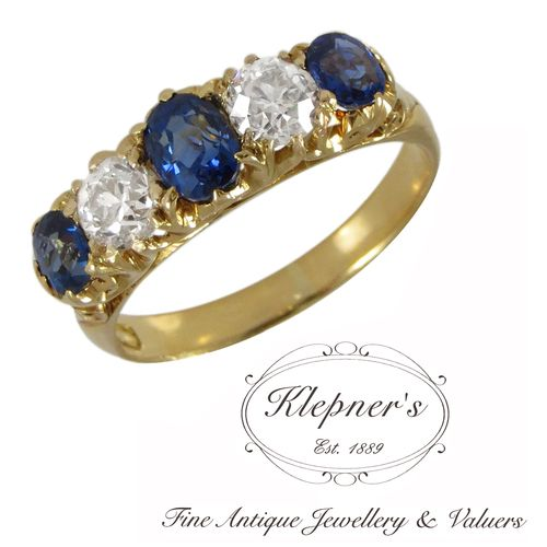 18ct yellow gold antique Edwardian Australian made diamond & sapphire filigree bridge ring, claw set with three oval blue sapphires totalling 1.25ct & two old brilliant cut diamonds totalling 0.75ct, G in colour, SI in clarity. The ring bears the makers mark of Willis & Co Jewellers of Melbourne. $9000.00 Stock Code: C2290 Visit us at www.klepners.com.au