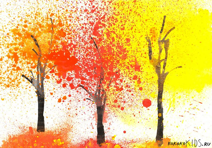 made by conventional spray for flowers, where we poured a little water and stir it paint (gouache) #watercolour #fall