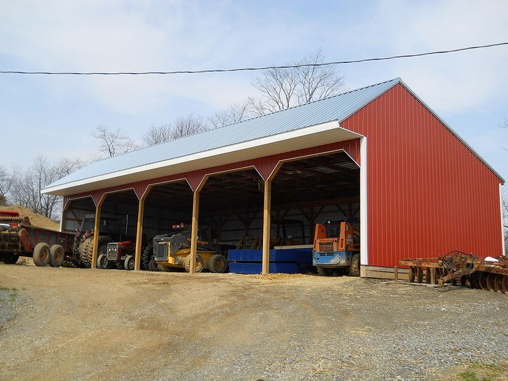 Pole barn shed building type 3 sided pole barn with for Pole barn style garage