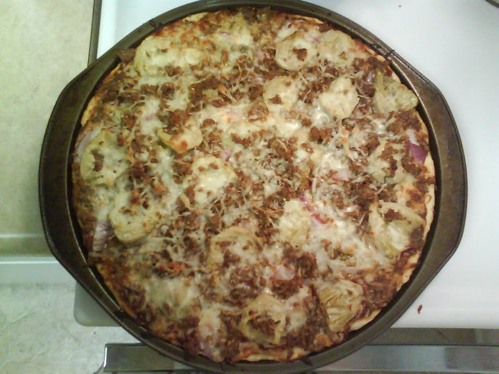 Don't choke on this Pizza: artichokes, red onion, Italian sausage