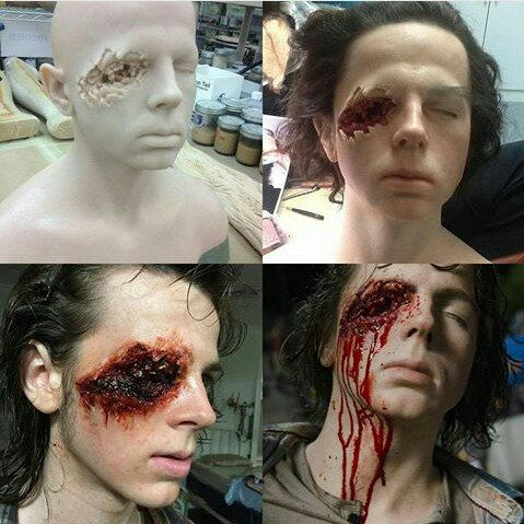 """Carl Grimes On the """"Talking Dead"""" they showed exacting how this was done. Great Special Effects."""