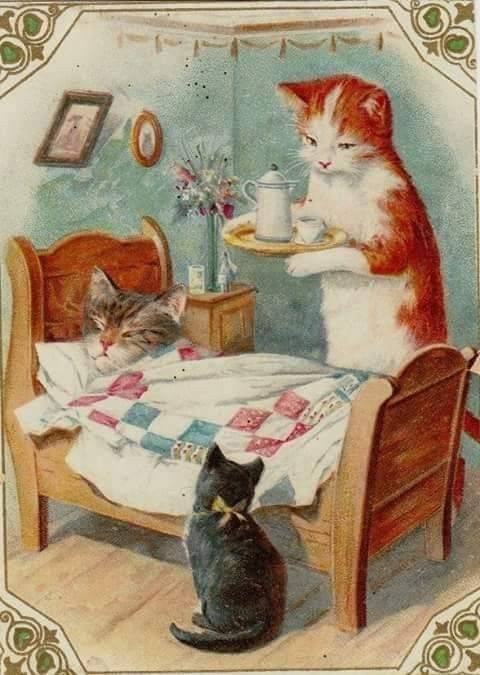 Vintage greeting card with mother cat and kitten