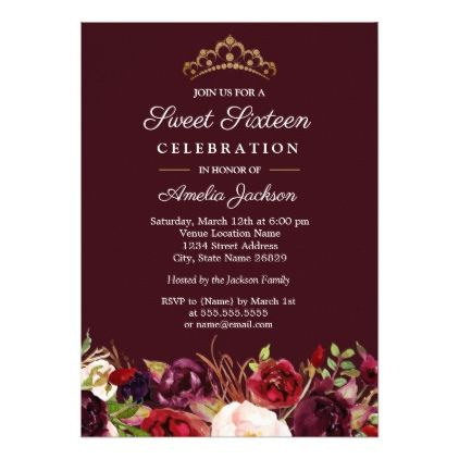 Marsala Red Burgundy Floral Sweet 16 Invitation - floral style flower flowers stylish diy personalize