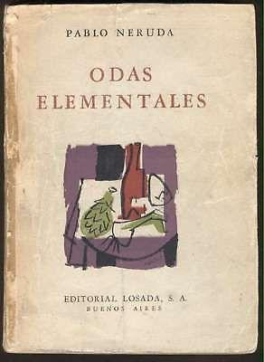 Pablo Neruda Book Odas Elementales 1959 Losada