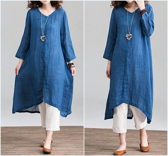 Loose Fitting Linen Long Shirt Dress In blue/ linen by MaLieb