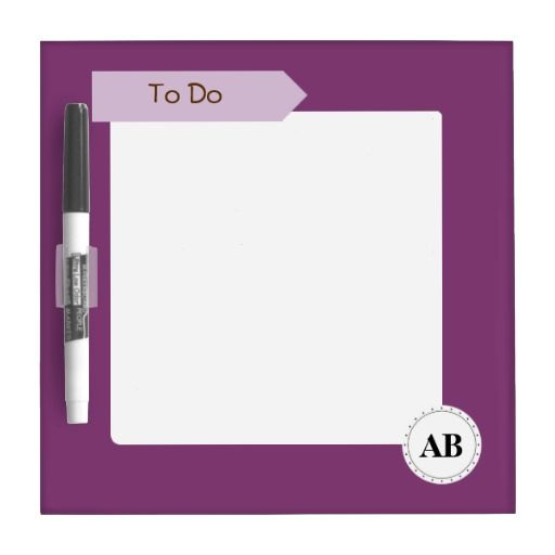 Byzantium purple solid color with monogram dry erase whiteboard