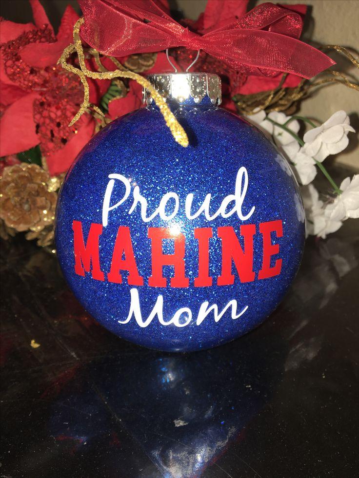 Proud Marine Mom Christmas Ornament Bulb, Xmas Tree Decor, Gift for Mom, Red White & Blue, USA United States, Santa Claus, Merry Christmas #marine #christmas #ornament #christmasgift #treedecor #xmas #proudmarinemom #mom #gift #usa #unitedstates #veteran