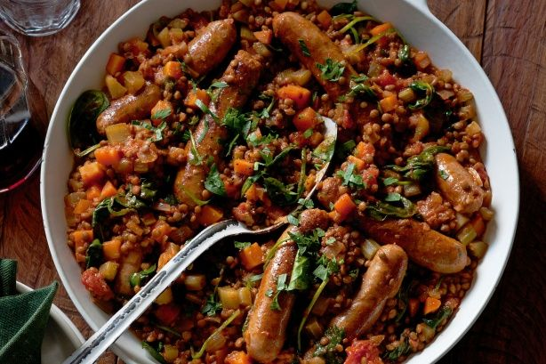 ... few fresh ingredients into this Italian lentils and sausages classic