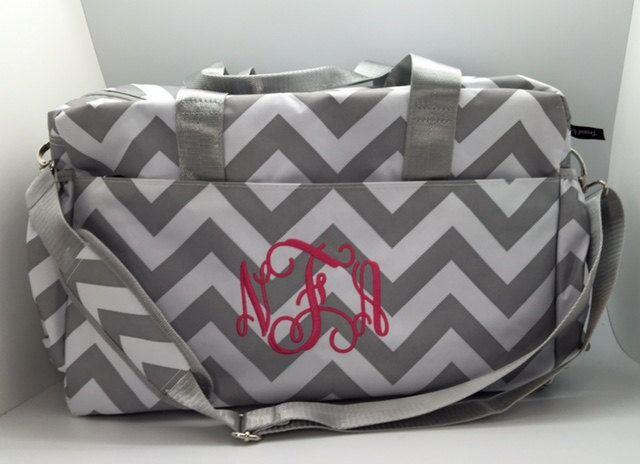 Diaper bag / Girl diaper bags / baby girl diaper bag / monogram diaper bag / personalized diaper bag / personalized baby / grey chevron by CustomThreadsShop on Etsy