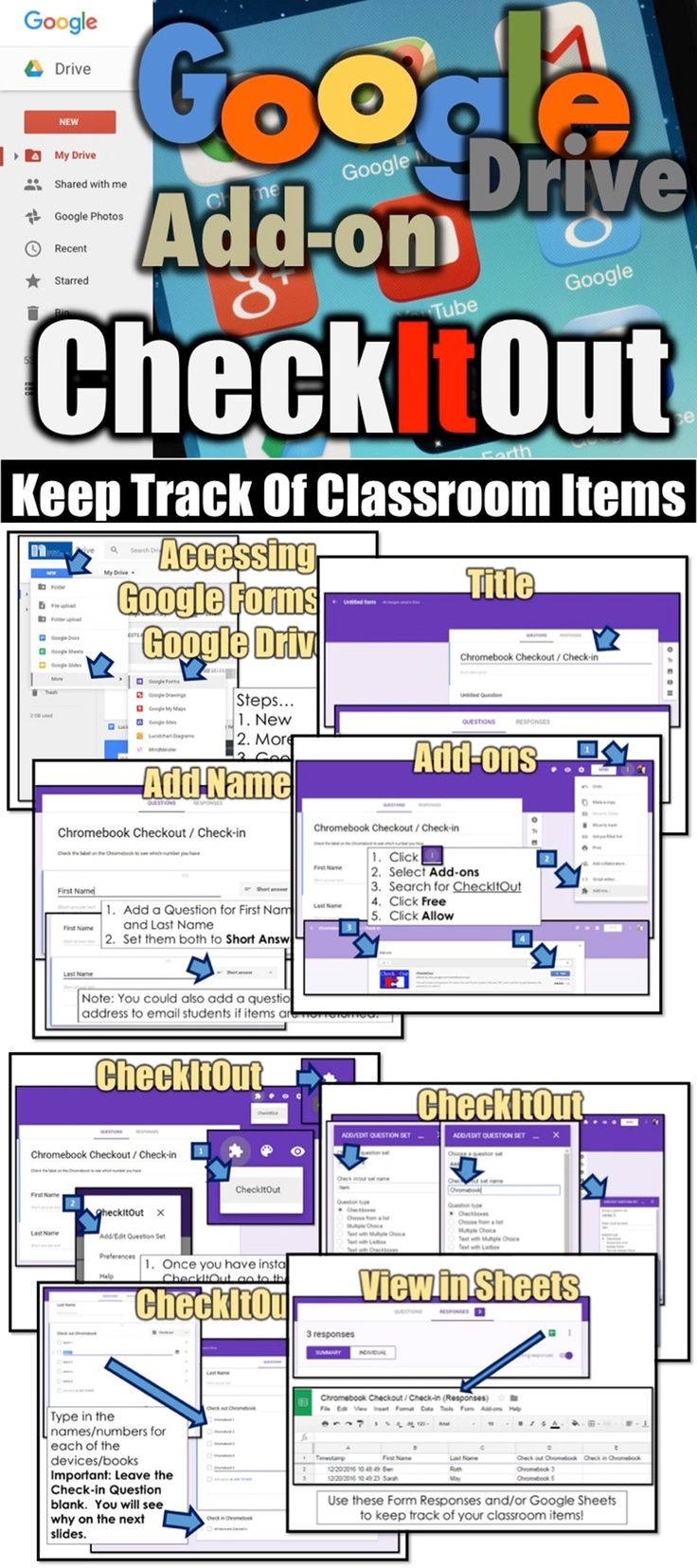 Use CheckItOut to keep track of digital devices, textbooks and other classroom items.   CheckItOut is an add-on for Google Drive Forms