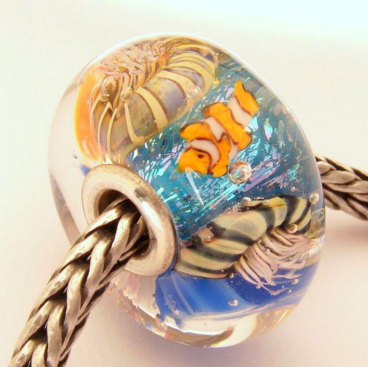 Ocean Aquarium Dichroic Sparkle Bead for Pandora, Troll Bracelet ML SRA Lampwork Murano Glass European Charm. $56.00, via Etsy.