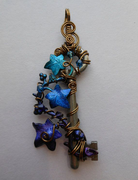 Ivy Vine Key Pendant Wire Wrapped Key with by silverowlcreations