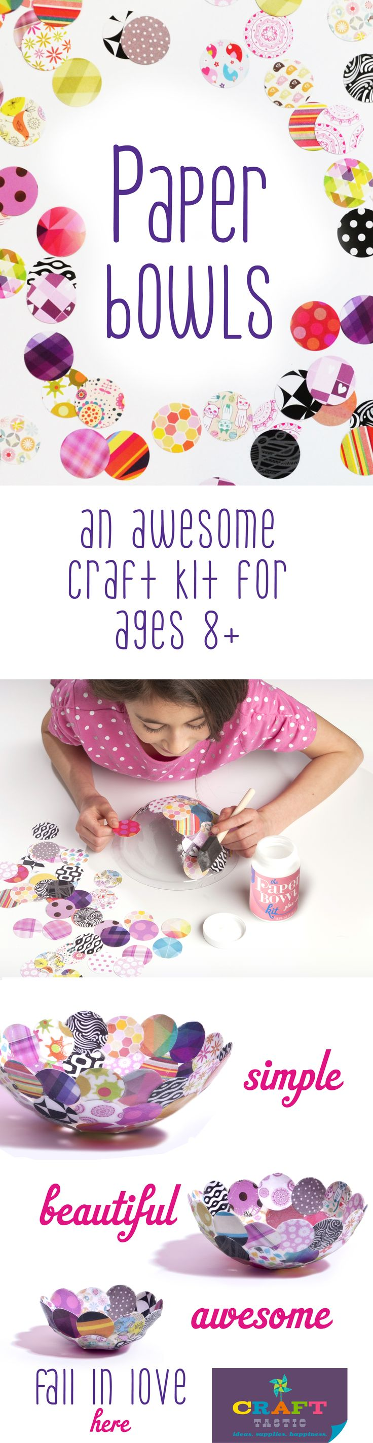 Have a crafty tween or teen? Check out Craft-tastic for modern craft kits that are fast and fun for ages 8+. With our paper bowl kit, you apply colorful paper circles over our bowl form with glue, let dry, and voila! Craft-tastic kits make the perfect gift for creative kids!