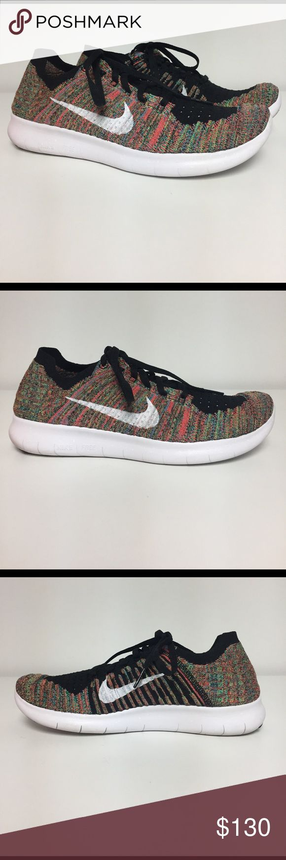 Nike ID Custom Free RN Flyknit Training Shoes Completely customized with Nike ID! Amazing custom shoes that have a great colorful pattern. Leigh's weight and breathable. Men's size 8, fit like a women's 9.5. Brand New shoes.  No box included. No trades. Nike Shoes Athletic Shoes