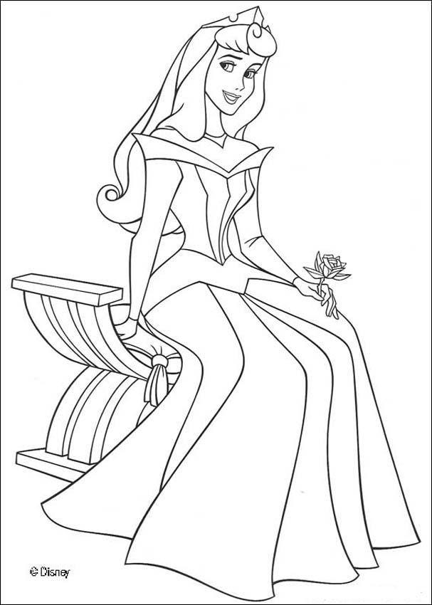 Coloring Page About Maleficent Disney Movie Drawing Of Princess Aurora In A Beautiful Dress