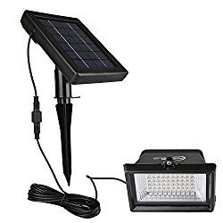 Findyouled Solar Flood lights Outdoor Landscape Lighting 60LED/120Lumen Cast Aluminium Wall /In-ground Lights, 2-in-1 Adjustable Light with a 16.4ft Cable , Auto On/Off (Warm White)